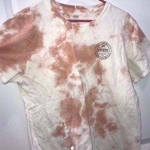 Vans Logo Pink and White Cloud Wash Top